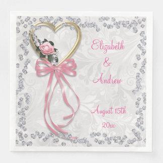 Romantische Rose, Diamanten u. Band-Verlobung Papierserviette