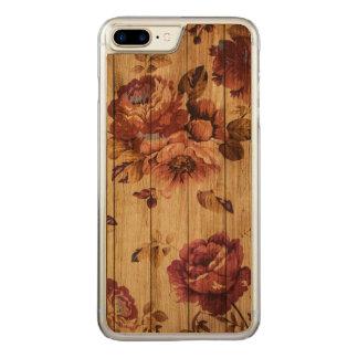 Romantische rustikale Rosen auf Kirschehölzernem Carved iPhone 8 Plus/7 Plus Hülle