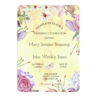 Romantische sonnige mit Blumenhochzeit 12,7 X 17,8 Cm Einladungskarte
