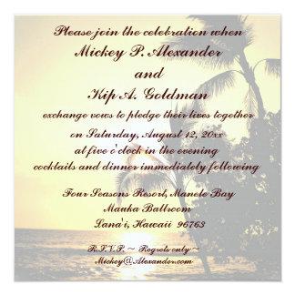 Romantische Strand-Hochzeits-Feier Quadratische 13,3 Cm Einladungskarte