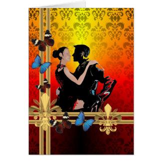 Romantische Tangotänzer auf Damast Karte