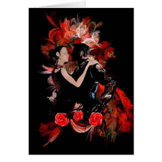 Romantische Tangotänzer auf rotem Fraktal Karte
