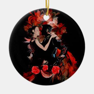 Romantische Tangotänzer auf rotem Fraktal Keramik Ornament