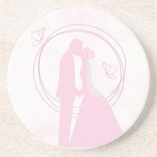 Romantische träumerische rosa Hochzeits-Paare Getränkeuntersetzer