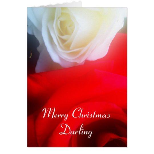 Romantische Weihnachtskarten-rote und weiße Rosen Grußkarte
