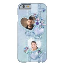 Romantischer blauer Foto-Herzen iPhone 6