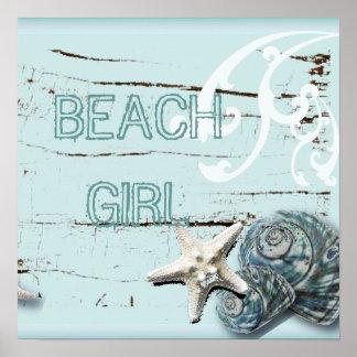 Romantischer eleganter blauer Seashell-Stranddekor Poster