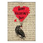 Romantischer Krähe Valentinstag Grußkarten