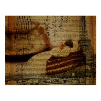 romantischer Kuchenliebhaber Paris-Eiffelturm Postkarte