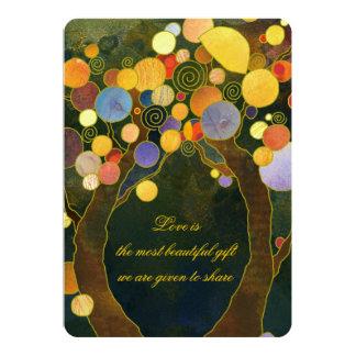 Romantischer Liebe-Baum-Frühlings-Hochzeit im 12,7 X 17,8 Cm Einladungskarte