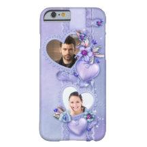 Romantischer lila Foto-Herzen iPhone 6 Kasten