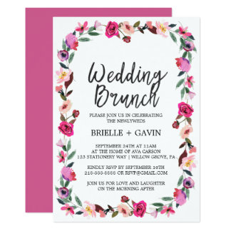 Romantischer Märchen-Blüten-Kranz-Hochzeits-Brunch Karte