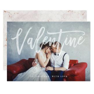 Romantischer Skript| Valentine mit Foto und Marmor Karte