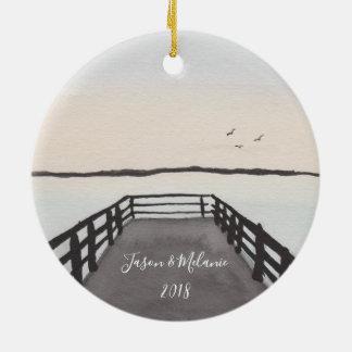 Romantischer Strand-Sonnenuntergang Keramik Ornament
