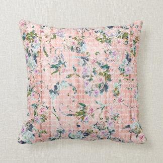 Romantisches Blumenskript-rosa u. tadelloses Kissen