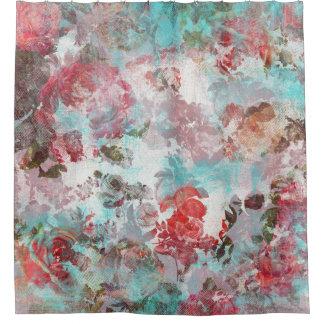 Romantisches Chic-Rosaaquamarines Watercolor-mit Duschvorhang
