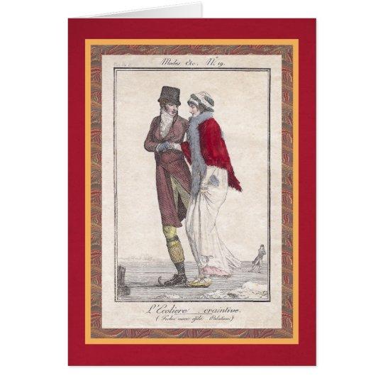 Romantisches Eis-Skaten-Vintage Grußkarte