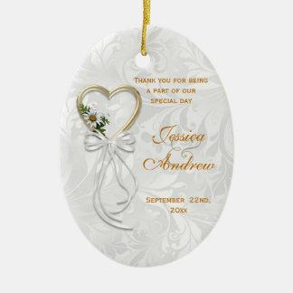 Romantisches Gänseblümchen, Goldherz u. weißes Keramik Ornament