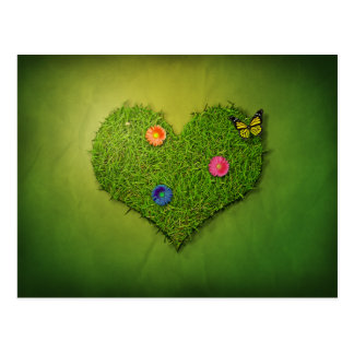Romantisches Gras-Herz - Postkarte