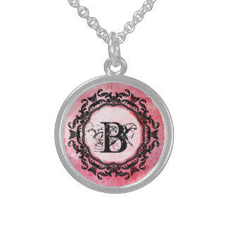 Romantisches rosa altes Rosechic-Muster Sterling Silberkette