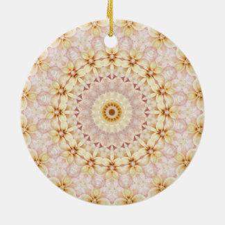 Romantisches rosa BlumenMandala-Kunst-Kaleidoskop Rundes Keramik Ornament