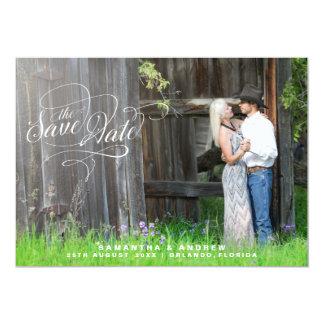 Romantisches Skript-Hochzeits-Foto Save the Date 12,7 X 17,8 Cm Einladungskarte