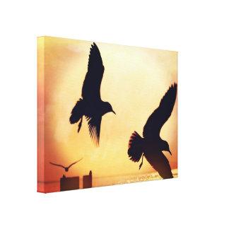 Romantisches Sonnenschein-Vogel-Blätter-moderne Leinwanddruck