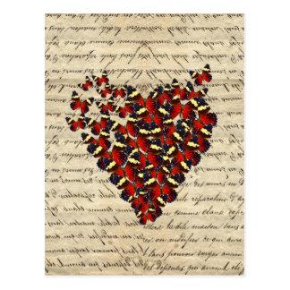 Romantisches Vintages Schmetterlingsherz Postkarte