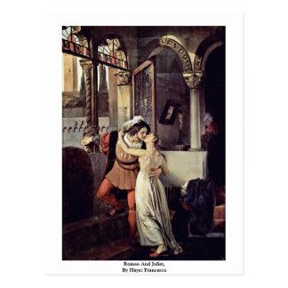 Romeo und Juliet, durch Hayez Francesco Postkarte
