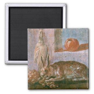 Römische Malerei des Kaninchens mit dem Essen Quadratischer Magnet