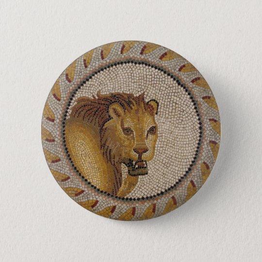 Römisches Löwe-Mosaik Runder Button 5,1 Cm