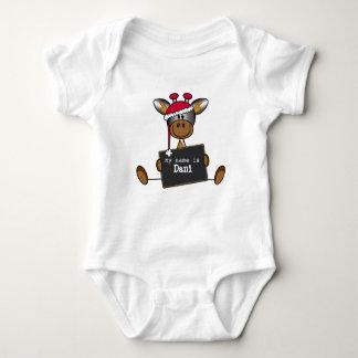 Rompertje met een illustratie van een lief girafje baby strampler