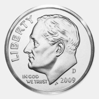Roosevelt-Groschen (Satz von 6/20) Runder Aufkleber