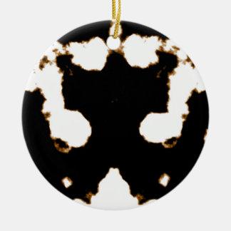 Rorschach Test einer Tinten-Fleck-Karte auf Weiß Keramik Ornament