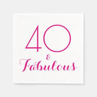 Rosa 40 und fabelhafte Typografie-Party-Servietten Papierserviette