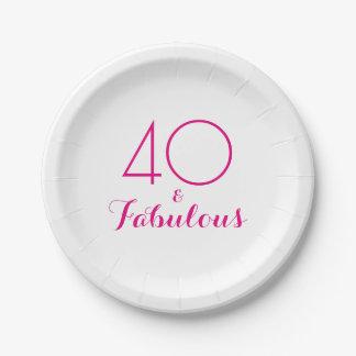 Rosa 40 und fabelhafter Typografie-Party-Teller Pappteller 17,8 Cm
