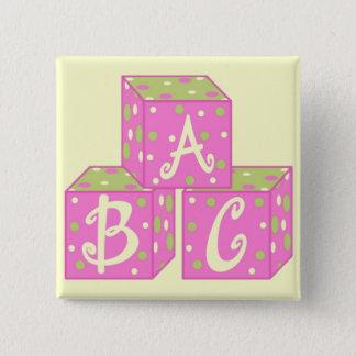 Rosa ABC knöpfen Quadratischer Button 5,1 Cm