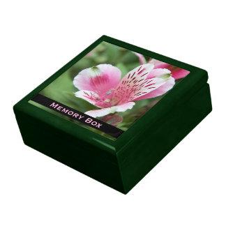 Rosa Alstroemeria-Fliesen-Kasten Große Quadratische Schatulle