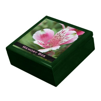 Rosa Alstroemeria-Fliesen-Kasten Schmuckschachtel