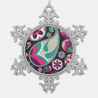 Rosa aquamarines Paisley-Muster Schneeflocken Zinn-Ornament