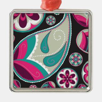 Rosa aquamarines Paisley-Muster Silbernes Ornament