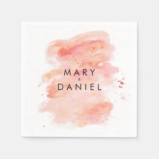 Rosa Aquarell-Hintergrund-Hochzeits-Serviette Papierservietten