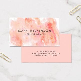 Rosa Aquarell-Hintergrund-Visitenkarte Visitenkarten