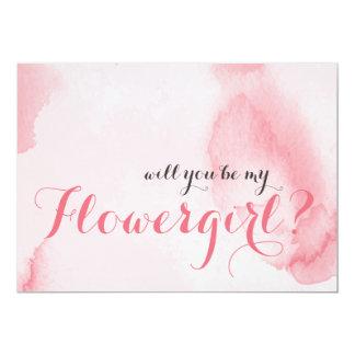 Rosa Aquarell | sind Sie mein Flowergirl Karte