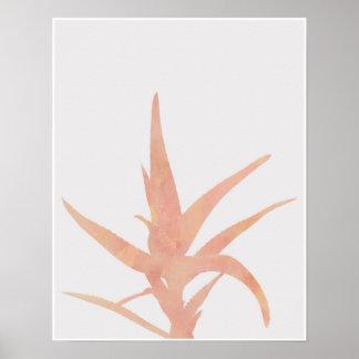 Rosa Aquarell-Wüsten-Kaktus Poster