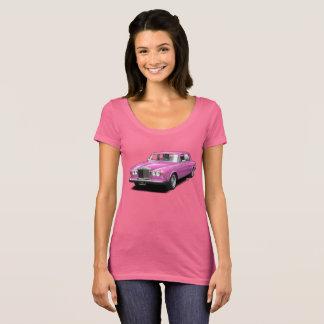 Rosa auf Auto-Damen-T - Shirt des rosa Rollens
