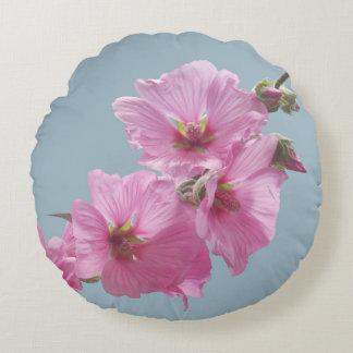 Rosa auf Blau zu malen Malven-Blumen-Foto, Rundes Kissen