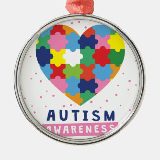 rosa Autismusbewusstsein Silbernes Ornament