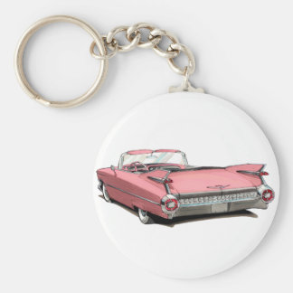 Rosa Auto 1959 Cadillacs Standard Runder Schlüsselanhänger