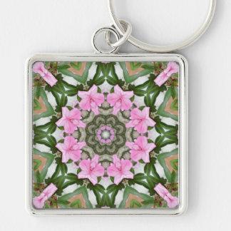 Rosa Azaleen 1E kaleidoscope11 Silberfarbener Quadratischer Schlüsselanhänger